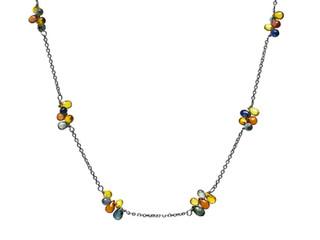 Multi-Color Sapphire Briolette Cluster Necklace