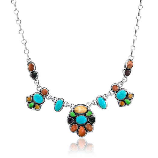 Nevajo multi-stone Cabochon necklace