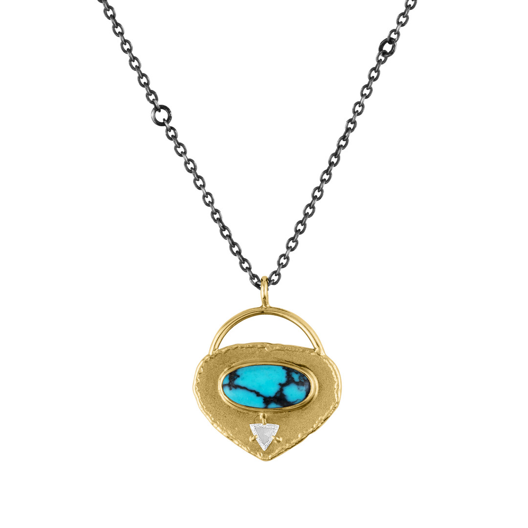 Oxidized Sterling Silver and Gold-filled textured necklace with Turquoise center