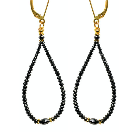 Black Diamond Bead Hoop with Oval Center
