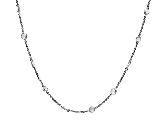 White Diamond Rose Cut Scatter Necklace