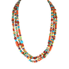 Multi-stone hand-rolled beaded necklace with 14k bead accents