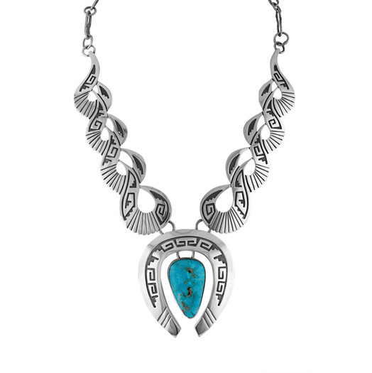 Kingman Turquoise overlay by Navajo artists Mary and Everett Teller