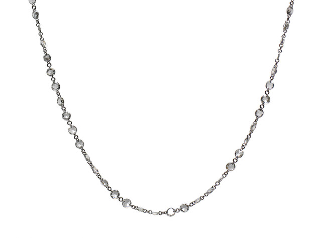 White Diamond Rose Cut Rosary Necklace