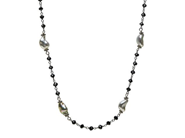 Black Diamonds & White Keshi Pearls