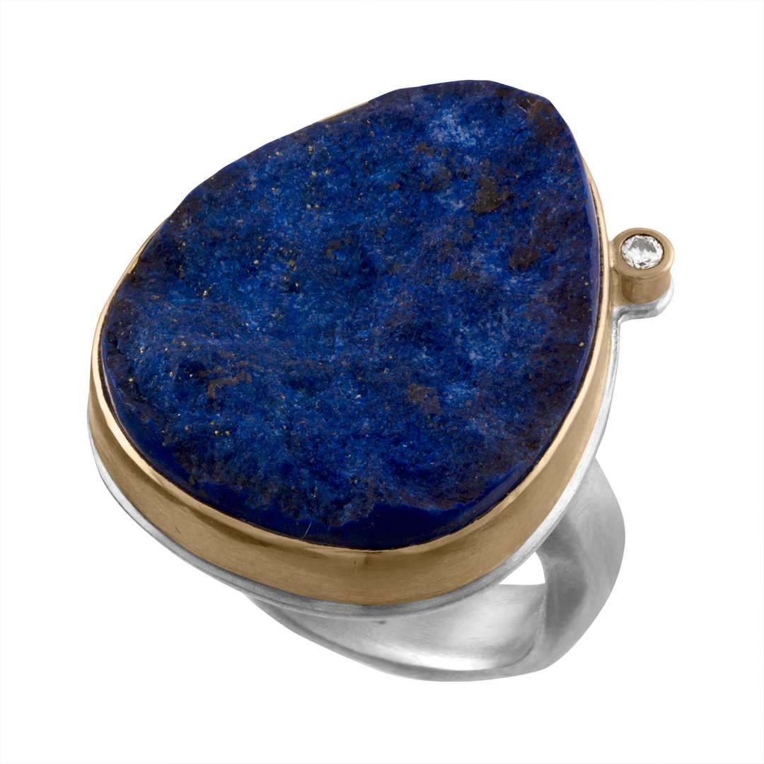 Unpolished Lapis with 14k Yellow Gold bezel and Diamond accents and Sterling Silver shank
