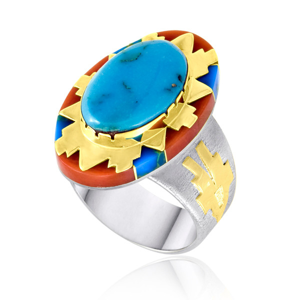Turquoise surrounded with Coral and Turquoise Inlay in Sterling Silver and 14k Yellow Gold by Navajo artist Leo Yazzie