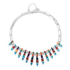 Multi-stone Navajo inlay necklace by Navajo artist Calvin Begay