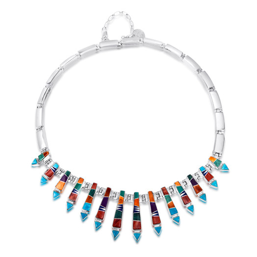 Multi-stone Navajo inlay necklace by Navajo artist Calvin Begay