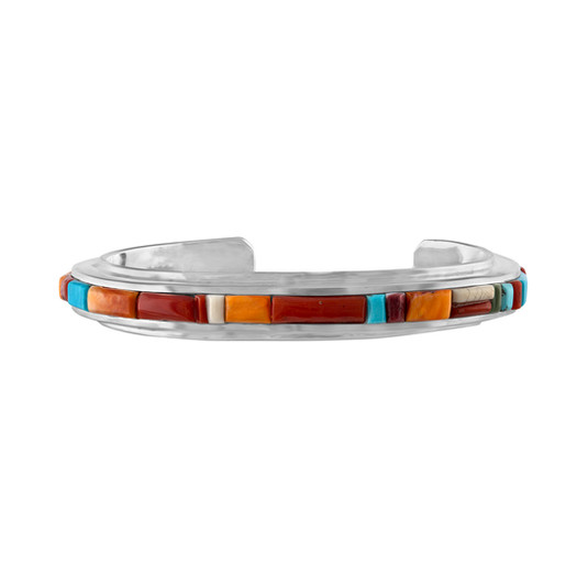 Multistone inlay bracelet in Sterling Silver by Navajo artist  David Tune