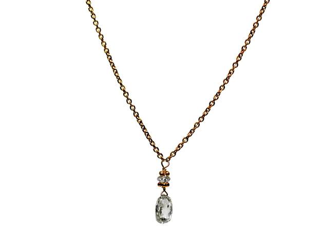 White Diamond Briolette Single Drop Necklace