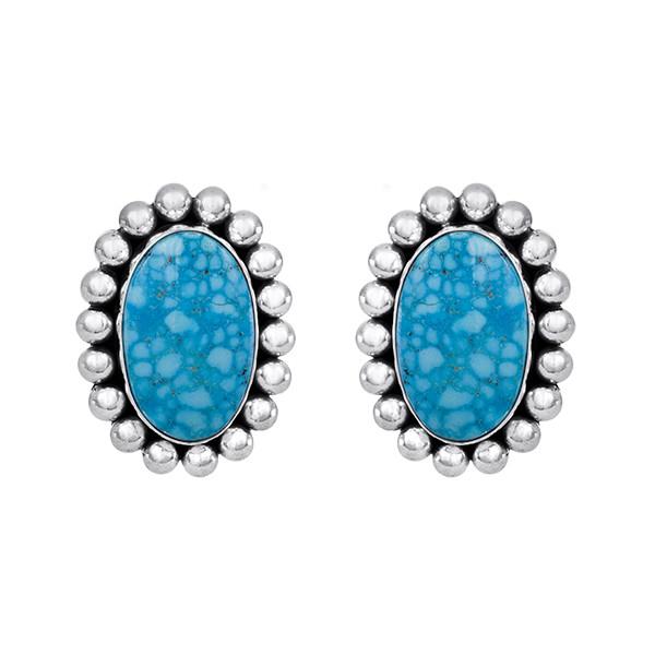 Kingman Turquoise earrings set in Sterling Silver by Navajo artist Artie Yellowhorse