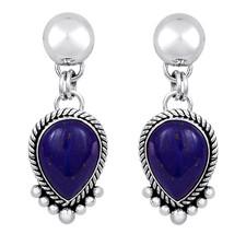 Lapis earrings set in Sterling Silver by Navajo artist Artie Yellowhorse