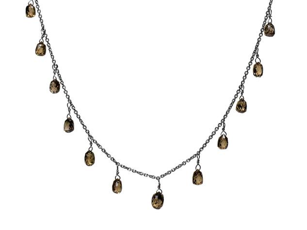 Brown Diamond Briolette Drop Necklace