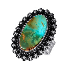 Royston Turquoise in Sterling Silver by Navajo artist Andy Cadman Royston Turquoise in Sterling Silver by Navajo artist Andy Cadman