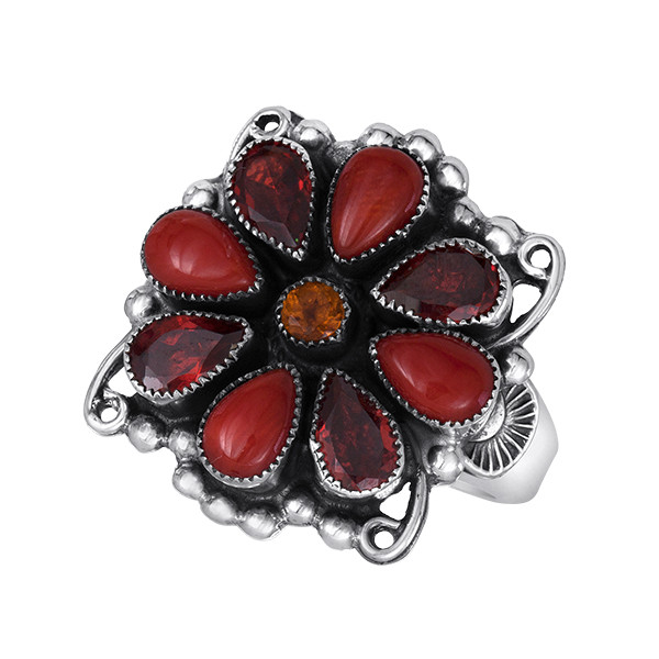 Coral and Faceted Garnet in Sterling Silver Coral and Faceted Garnet in Sterling Silver