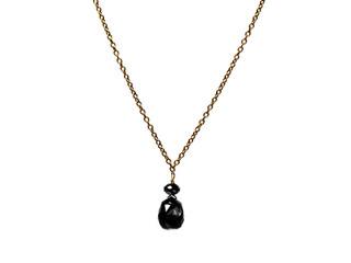 Black Diamond Briolette Single Drop Necklace