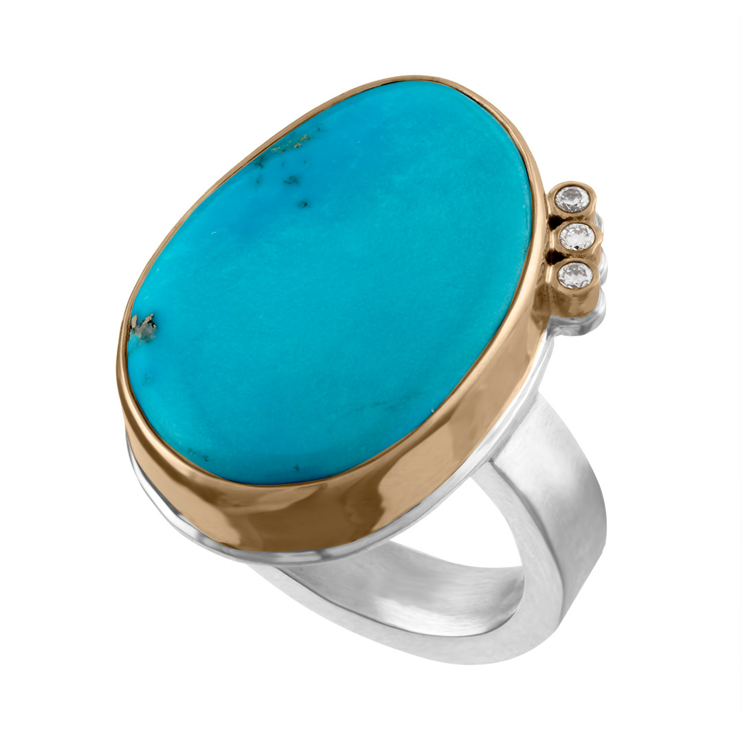 Turquoise with 14k Yellow Gold bezel and brushed Sterling Silver shank with Diamond accents