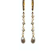 Grey Diamond Beads & Briolette Drop