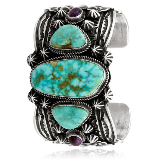 Kingman Tuquoise and Sterling Silver bracelet with purple Spiny Oyster accents by Navajo artist Andy Cadman