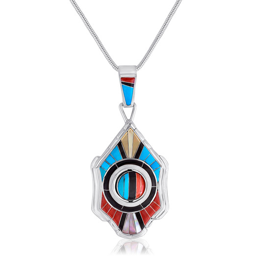 Fine detail multi-stone inlay pendant with spinner center by Zuni artist Don Dewa