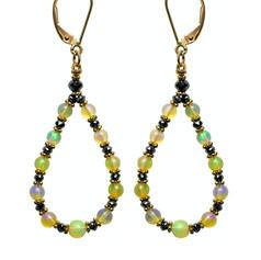 Opal with Black Diamond Beads Hoop
