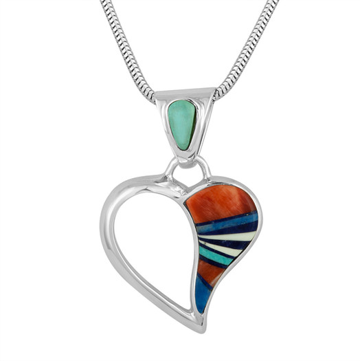 Navajo multi-stone inlay heart pendant