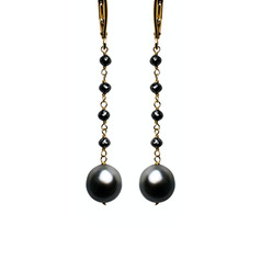Black Diamond Beads with Tahitian Pearls Long Drop