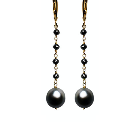 Black Diamond Beads with Tahitian Pearls Long Drop