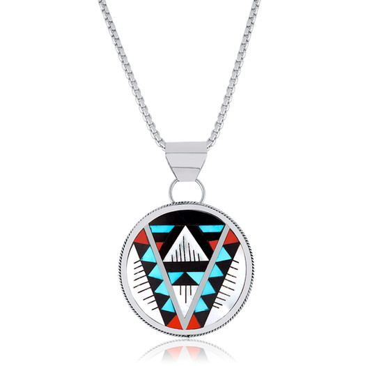 Zuni multi-stone inlay pendant