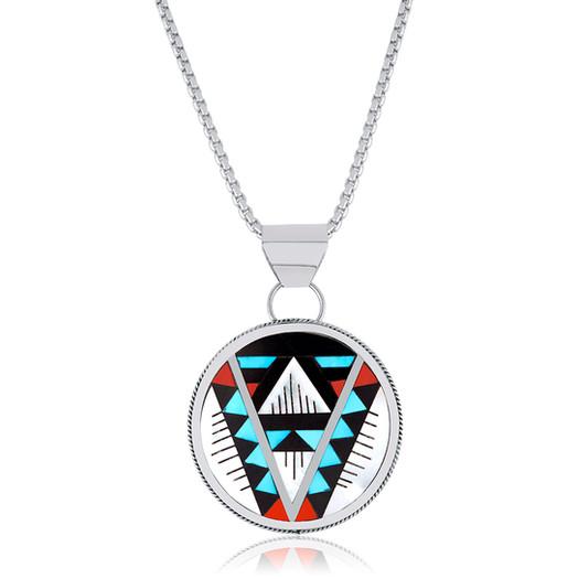 Zuni multi-stone inlay pendant