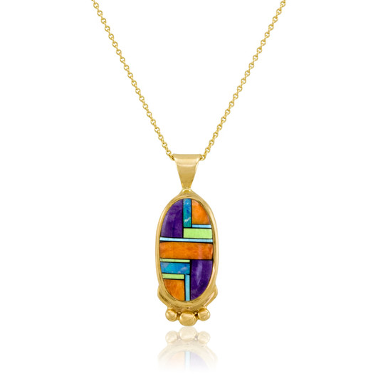 14k multistone inlay pendant by Navajo artist Calvin Begay