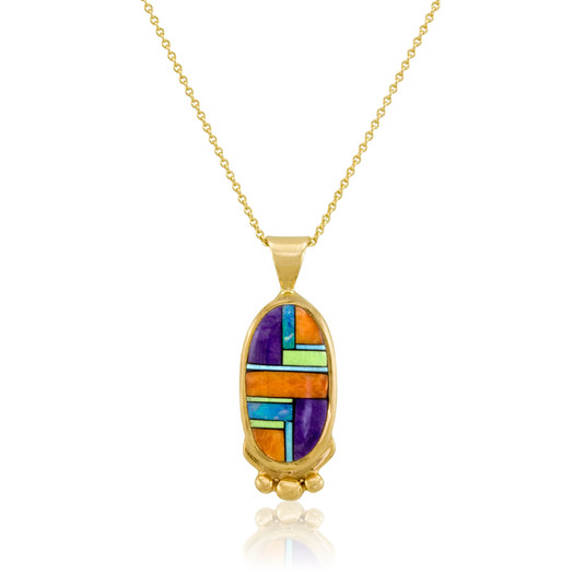 14k multistone inlay pendant by Navajo artist Calvin Begay