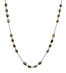 Brown Diamond Briolette Rosary/Scatter Necklace