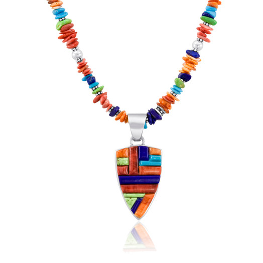 Multi-stone inlay Chevron pendant with matching multi-stone nugets by Navajo artist Calvin Begay