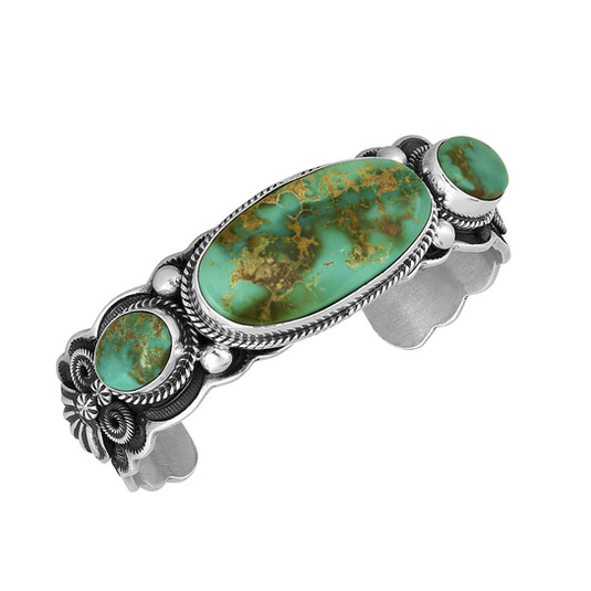 Royston Turquoise and Sterling Silver bracelet by Navajo artist Albert Jake