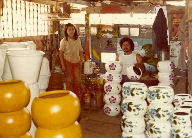 Clay flower pots handpainted by Mexican Artisans