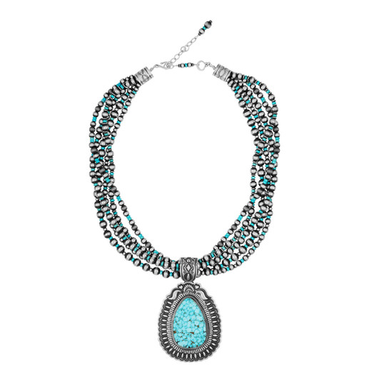 Kingman Turquoise with multiple strands of Sterling Silver beads with Turquoise accents by Navajo artist Daryl Becenti