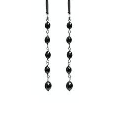 Black Diamond Oval Bead Long Drop
