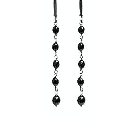 Black Diamond Oval Bead Long Drop