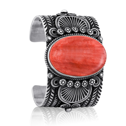 Spiny Oyster and Sterling Silver bracelet by Navajo artist Daryl Cadman