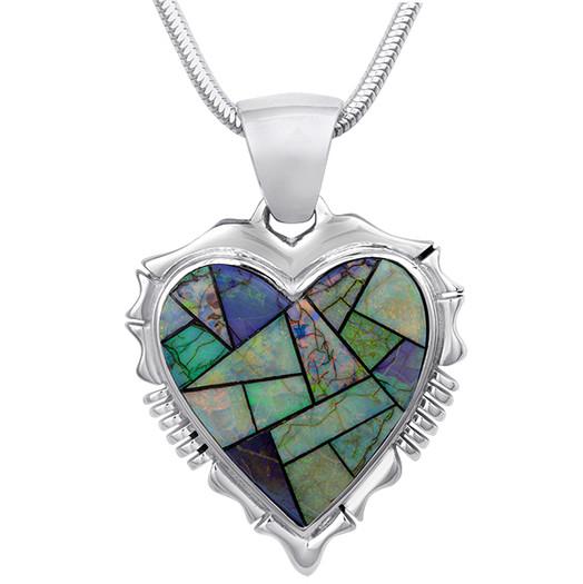 Navajo American Opal inlay heart pendant