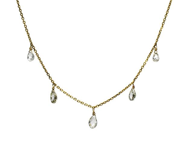 White Diamond Briolette 5 Drop Necklace
