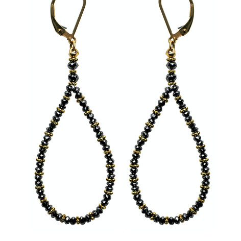 Black Diamond Bead Hoop