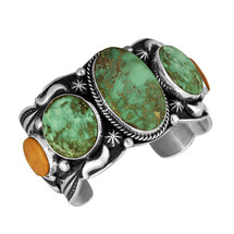 Royston Turquoise and Spiny Oyster bracelet with Sterling Silver by Navajo artist Albert Jake