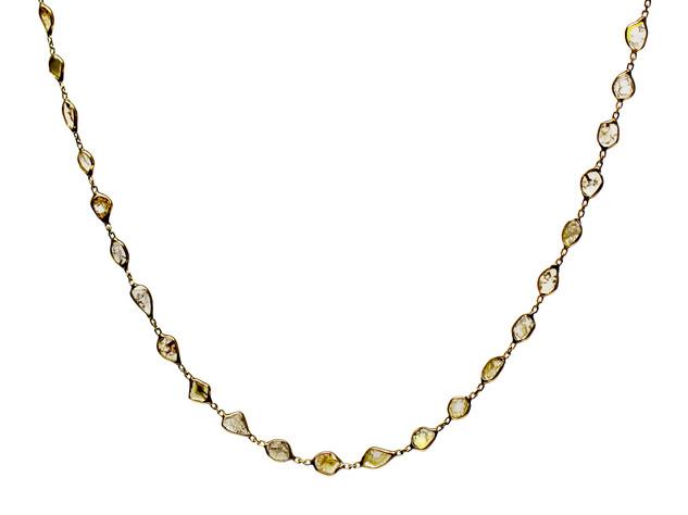 Diamond Slice Rosary Necklace