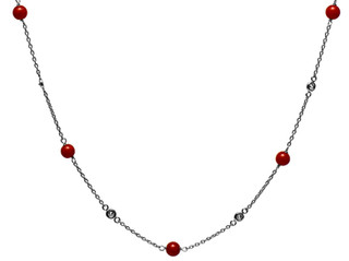 Diamond Bezel & Coral Necklace
