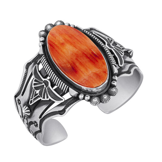 Spiny Oyster and Sterling Silver bracelet by Navajo artist Aaron Toadlena