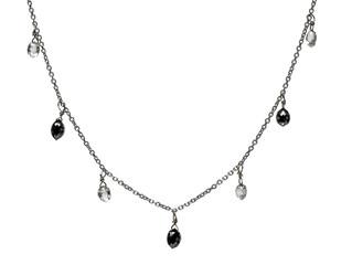 White & Black Diamond Briolette 7 Drop Necklace