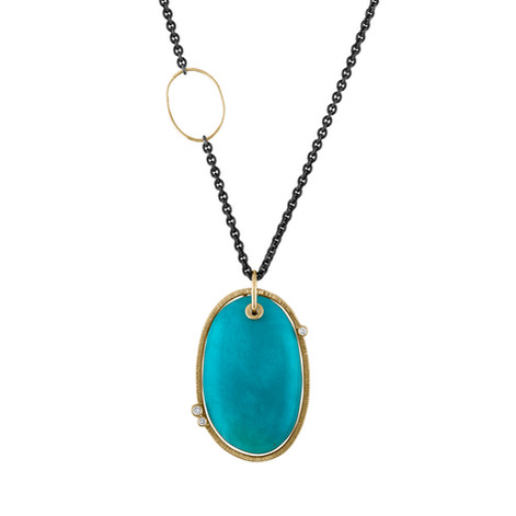 14k Yellow Gold and oxidized Sterling Silver Turquoise pendant